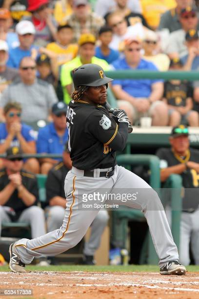 Gift Ngoepe of the Pirates at bat during the spring training game between the Pittsburgh Pirates and the Atlanta Braves on March 13 2017 at Champion...