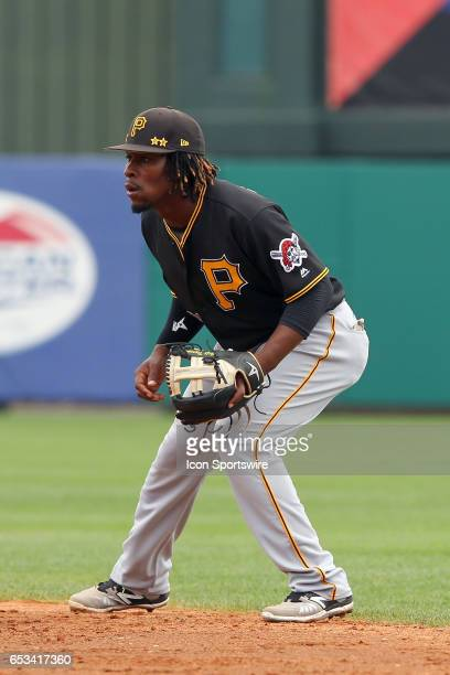 Gift Ngoepe of the Pirates at second base during the spring training game between the Pittsburgh Pirates and the Atlanta Braves on March 13 2017 at...