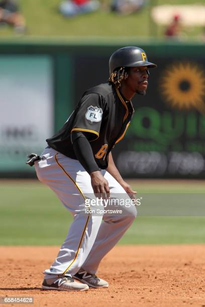 Gift Ngoepe of the Pirates leads off second base during the spring training game between the Pittsburgh Pirates and the Philadelphia Phillies on...
