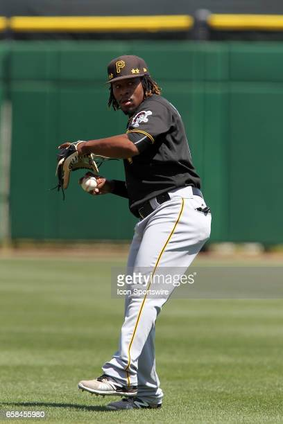 Gift Ngoepe of the Pirates warms up before the spring training game between the Pittsburgh Pirates and the Philadelphia Phillies on March 26 2017 at...