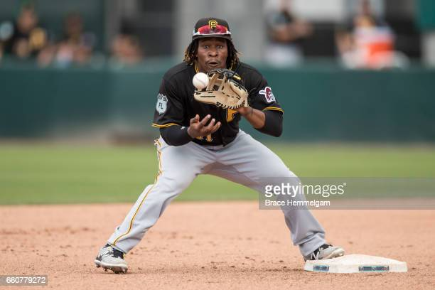 Gift Ngoepe of the Pittsburgh Pirates fields against the Minnesota Twins on March 1 2017 at the CenturyLink Sports Complex in Fort Myers Florida