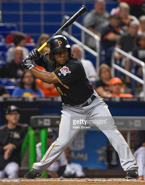 Gift Ngoepe of the Pittsburgh Pirates hits in the second inning during the game between the Miami Marlins and the Pittsburgh Pirates at Marlins Park...
