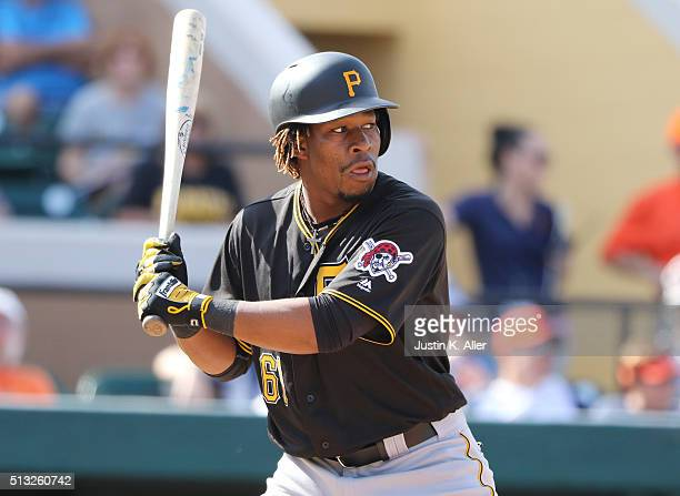 Gift Ngoepe of the Pittsburgh Pirates in action during the game against the Detroit Tigers at Joker Marchant Stadium on March 1 2016 in Lakeland...