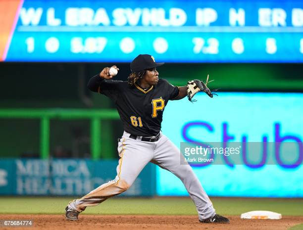 Gift Ngoepe of the Pittsburgh Pirates in action during the game between the Miami Marlins and the Pittsburgh Pirates at Marlins Park on April 28 2017...
