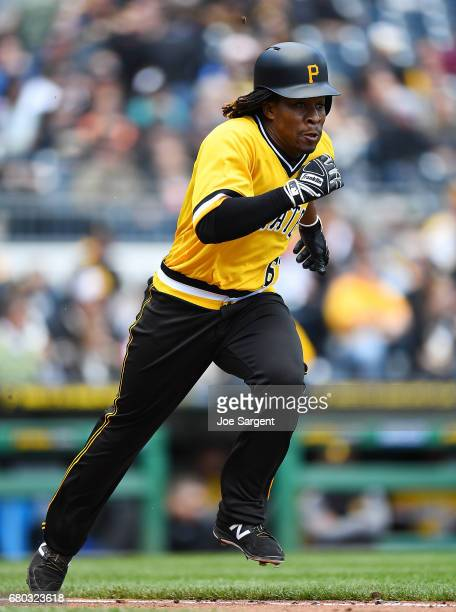 Gift Ngoepe of the Pittsburgh Pirates in action during the game against the Milwaukee Brewers at PNC Park on May 7 2017 in Pittsburgh Pennsylvania
