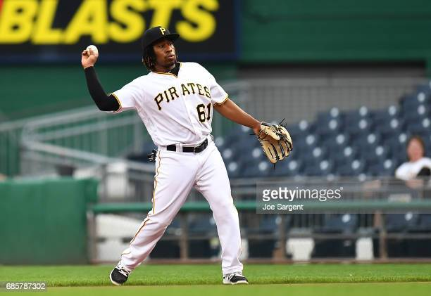 Gift Ngoepe of the Pittsburgh Pirates in action during the game against the Washington Nationals at PNC Park on May 17 2017 in Pittsburgh Pennsylvania