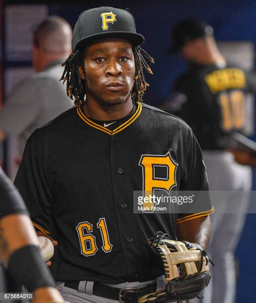 Gift Ngoepe of the Pittsburgh Pirates in the dugout before the game between the Miami Marlins and the Pittsburgh Pirates at Marlins Park on April 28...