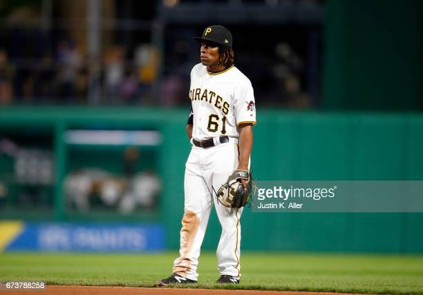 Gift Ngoepe of the Pittsburgh Pirates makes his major league debut against the Chicago Cubs at PNC Park on April 26 2017 in Pittsburgh Pennsylvania