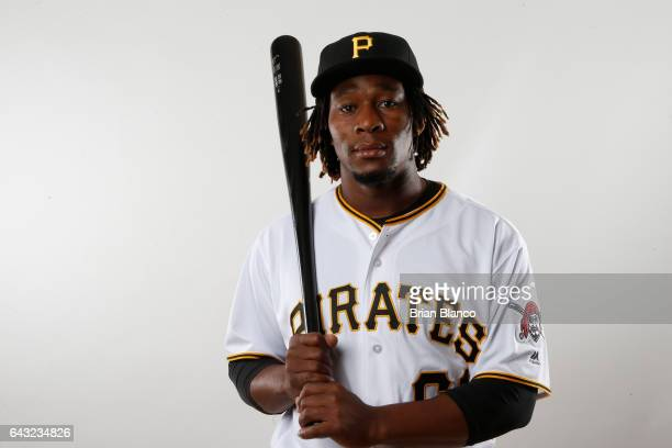 Gift Ngoepe of the Pittsburgh Pirates poses for a photograph during MLB spring training photo day on February 19 2017 at Pirate City in Bradenton...