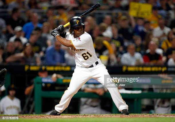 Gift Ngoepe of the Pittsburgh Pirates records his first major league single in the fourth inning against the Chicago Cubs at PNC Park on April 26...