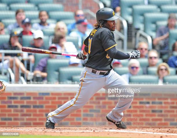 Gift Ngoepe of the Pittsburgh Pirates singles to knock in a second inning run against the Atlanta Braves at SunTrust Park on May 25 2017 in Atlanta...