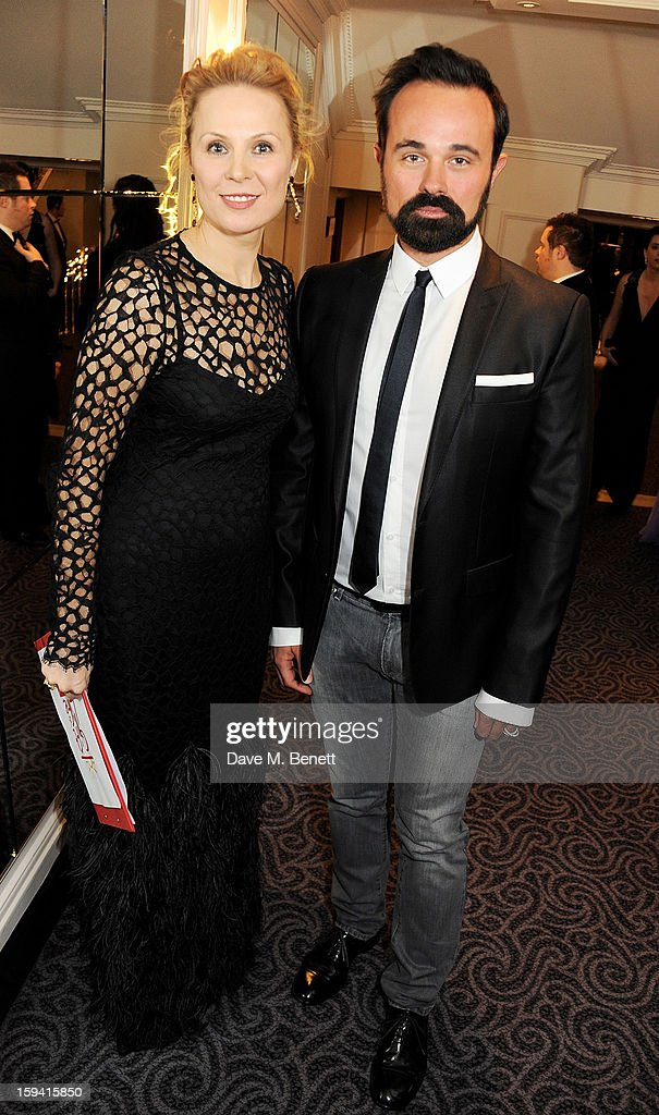 Gift of Life co-founder Dina Korzun (L) and Evgeny Lebedev attend a gala evening celebrating Old Russian New Year's Eve in aid of the Gift Of Life Foundation at The Savoy Hotel on January 13, 2013 in London, England.