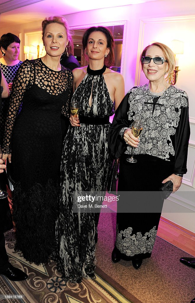Gift of Life co-founder Dina Korzun, guest and Inna Churikova attend a gala evening celebrating Old Russian New Year's Eve in aid of the Gift Of Life Foundation at The Savoy Hotel on January 13, 2013 in London, England.