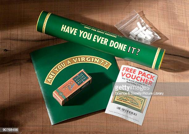Gift pack sent as a part of a direct marketing hit to adult smokers in the UK consisting of a cardboard tube containing a packet of rolling papers a...