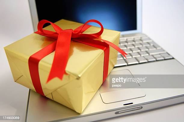 Gift Resting On Laptop