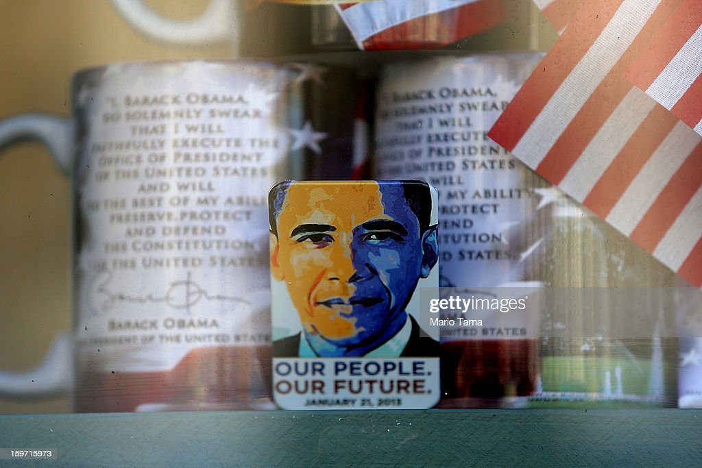 A gift shop displays presidential memorabilia as Washington prepares for President Barack Obama's second inauguration on January 19, 2013 in Washington, DC. The U.S. capital is preparing for the second inauguration of U.S. President Barack Obama, which will take place on January 21.