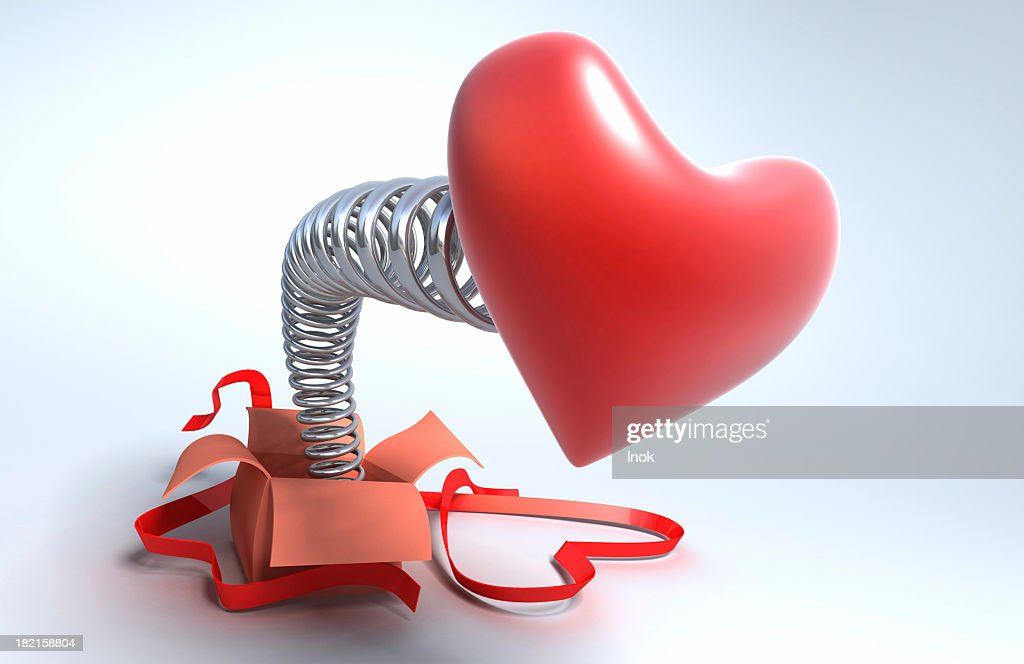 Gift with a big  heart : Stock Photo