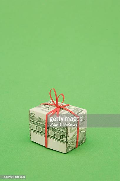 Gift wrapped in US dollar bill
