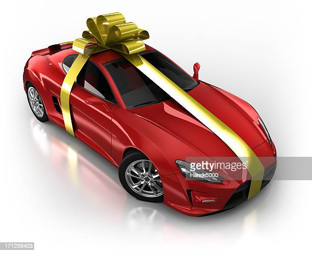 gift wrapped sports car in studio - isolated on white