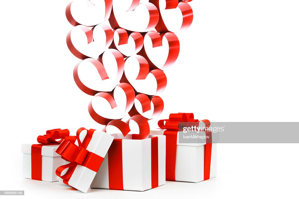 Gifts and hearts : Stock Photo