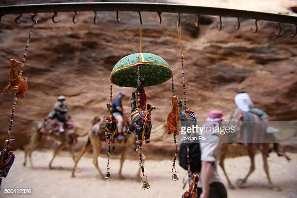 Gifts are displayed as tourists visit the legendary Petra Jordan's most famous tourist attraction on April 3 2015 in Petra Jordan Stakeholders have...