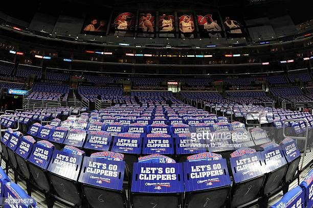 Gifts for the fans of the Los Angeles Clippers lay on chairs before a game against the Houston Rockets in Game Four of the Western Conference...