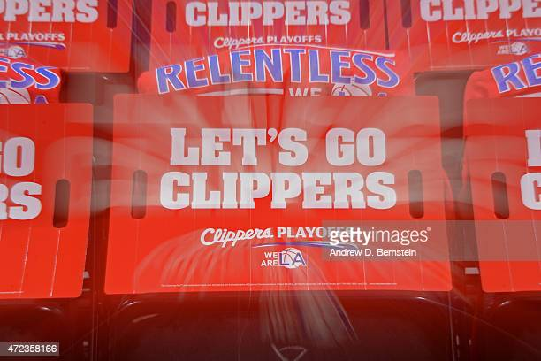 Gifts for the fans of the Los Angeles Clippers sit on chairs before a game against the San Antonio Spurs in Game Seven of the Western Conference...