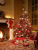 Gifts in front of Christmas tree