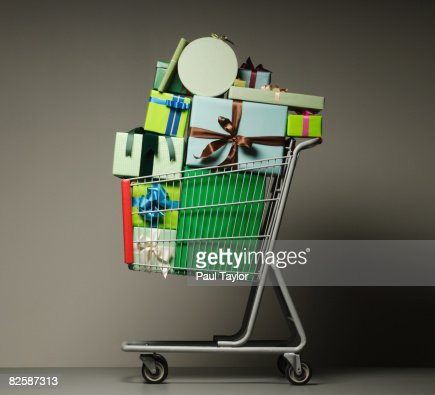 Gifts in shopping cart : Stock Photo