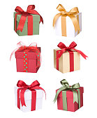 Gifts in assorted colors.