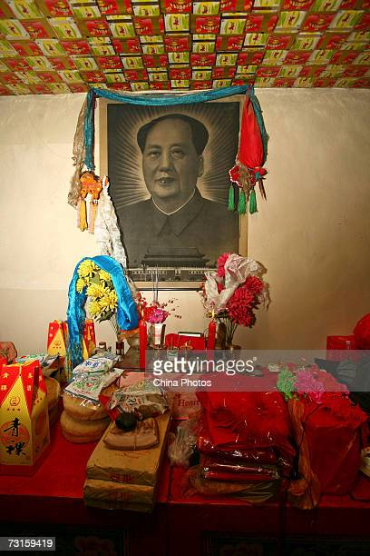Gifts presented by the groom's family are seen at the bride's home during a Tu ethnic minority group wedding ceremony on January 29 2007 in Huzhu...