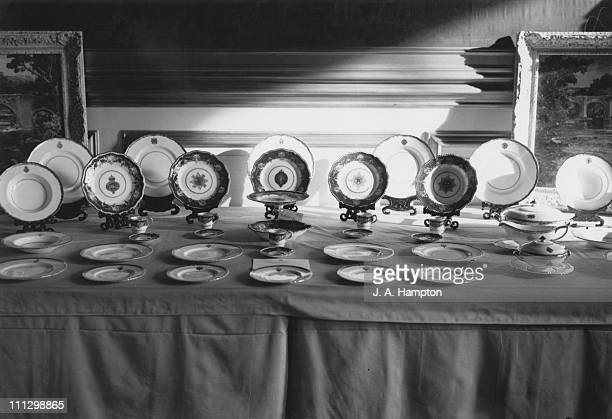 Gifts presented to Princess Elizabeth and Philip Duke of Edinburgh for the occasion of their wedding are displayed at St James Palace London 17th...