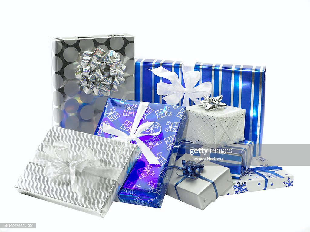 Gifts wrapped in Hanukah colors, studio shot