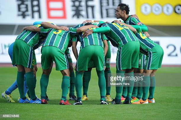 FC Gifu players make the huddle prior to the JLeague second division match between FC Gifu and Matsumoto Yamaga at Nagaragawa Stadium on November 15...