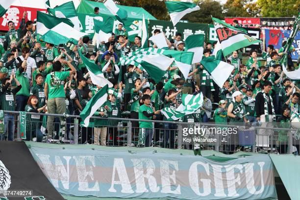 Gifu supporters cheer prior to the JLeague J2 match between FC Gifu and Zweigen Kanazawa at Nagaragawa Stadium on April 29 2017 in Gifu Japan