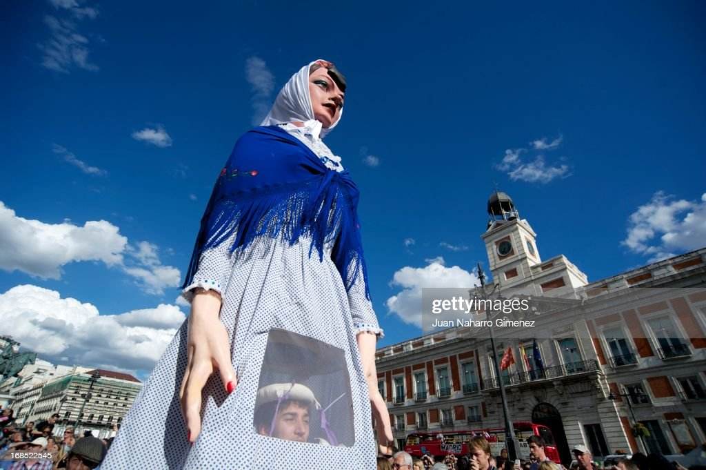 Gigantes and Cabezudos walk the streets of Madrid in to begin the festivities of San Isidro on May 10, 2013 in Madrid, Spain. These festivities in honor of San Isidro Labrador is characterized by the pilgrimages, festivals, attractions and various traditional performances.