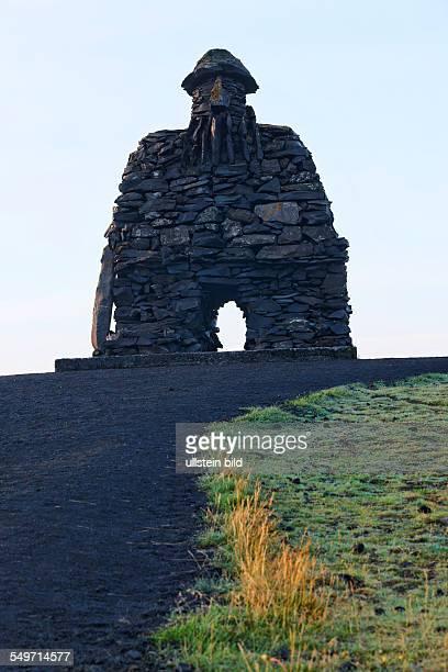 Gigantic boulderous behatted Bardur Arnastapi Snaefellsnes Iceland