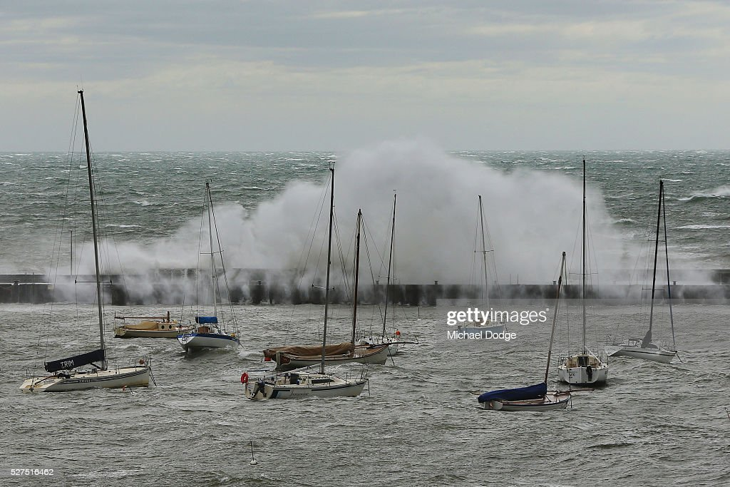 Gigantic waves crash over the pier at Mornington Harbour on May 3, 2016 in Melbourne, Australia. Wind gusts of up to 100km per hour are expected in Melbourne and parts of southern Victoria as part of a deep cold front moves across the state.