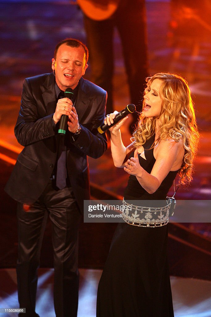 Gigi D'Alessio and <a gi-track='captionPersonalityLinkClicked' href=/galleries/search?phrase=Lara+Fabian&family=editorial&specificpeople=228901 ng-click='$event.stopPropagation()'>Lara Fabian</a> during 57th San Remo Music Festival - Day 4 in Sanremo, Italy.