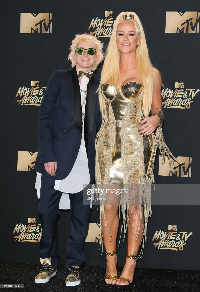 Gigi Gorgeous and Nats Getty attend the 2017 MTV Movie and TV Awards at The Shrine Auditorium on May 7, 2017 in Los Angeles, California.