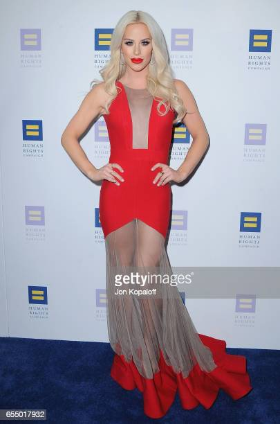 Gigi Gorgeous arrives at the Human Rights Campaign's 2017 Los Angeles Gala Dinner at JW Marriott Los Angeles at LA LIVE on March 18 2017 in Los...