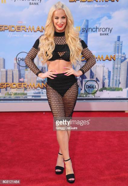 Gigi Gorgeous arrives at the premiere of Columbia Pictures' 'SpiderMan Homecoming' at TCL Chinese Theatre on June 28 2017 in Hollywood California