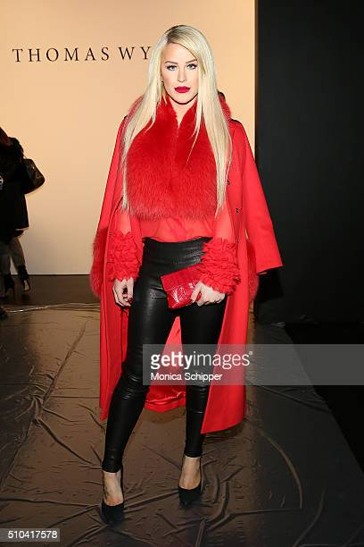 Gigi Gorgeous attends the Thomas Wylde Fall 2016 fashion show during New York Fashion Week The Shows at The Dock Skylight at Moynihan Station on...