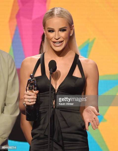 Gigi Gorgeous onstage during the 2017 Streamy Awards at The Beverly Hilton Hotel on September 26 2017 in Beverly Hills California