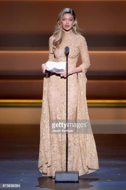Gigi Hadid accepts an award onstage at Glamour's 2017 Women of The Year Awards at Kings Theatre on November 13 2017 in Brooklyn New York