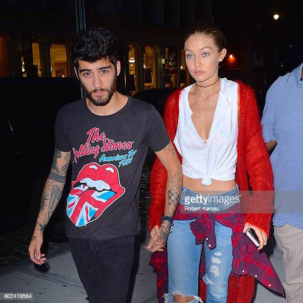Gigi Hadid and boyfriend Zayn Malik hold hands as they walk in Manhattan on September 10 2016 in New York City