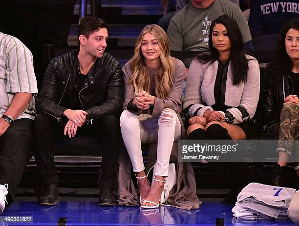Gigi Hadid and Chanel Iman attend New York Knicks vs Los Angeles Lakers game at Madison Square Garden on November 8 2015 in New York City