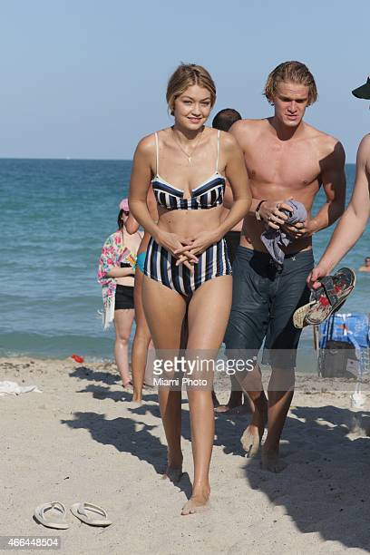 Gigi Hadid and Cody Simpson are seen on March 15 2015 in Miami Florida