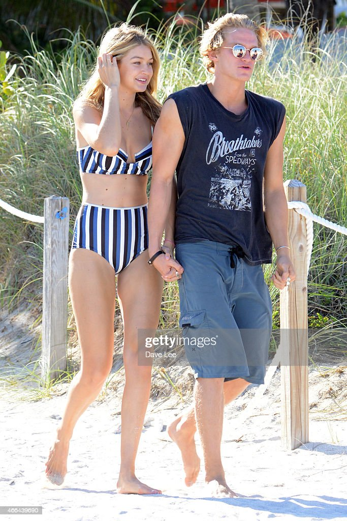 Gigi Hadid and Cody Simpson are seen on the beach in Miami Beach FL, USA. on March 15, 2015 in Miami, Florida.