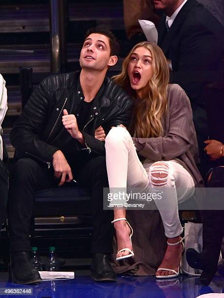 Gigi Hadid and guest attend New York Knicks vs Los Angeles Lakers game at Madison Square Garden on November 8 2015 in New York City